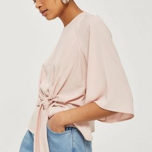 NWT - Topshop Slouchy Knot Front Blouse - Lt. Pink